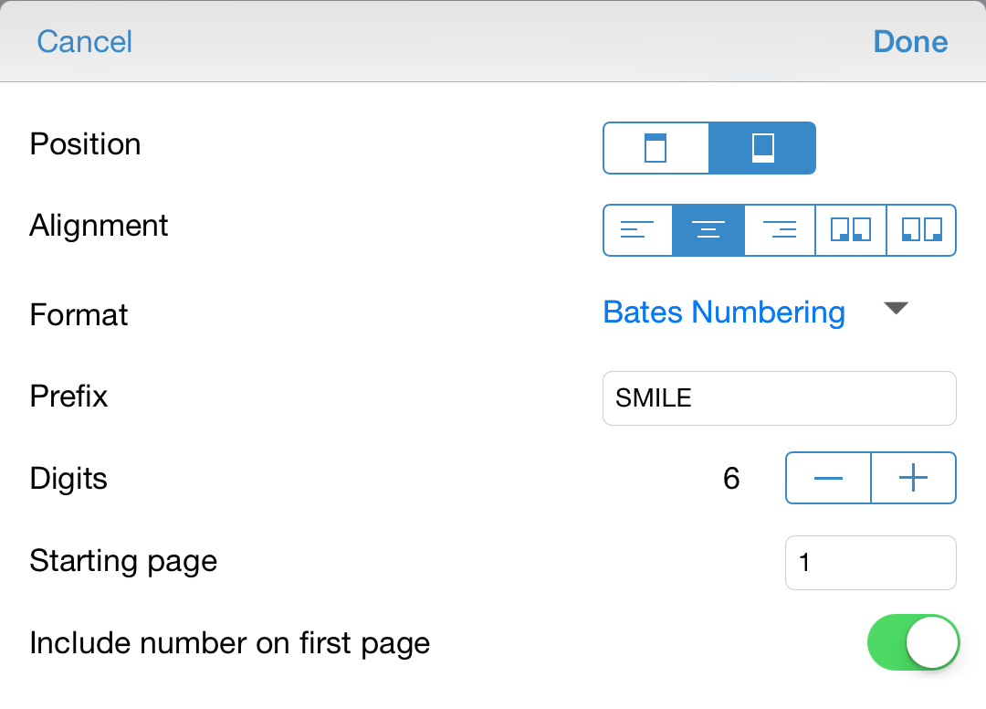 Page Numbering Options