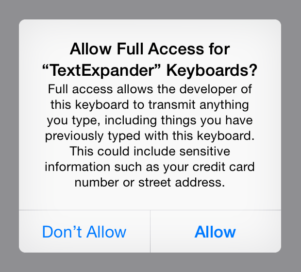 Full Access Warning Dialog