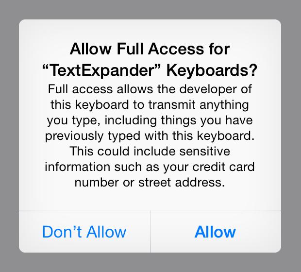 Full Access Warning Dialog