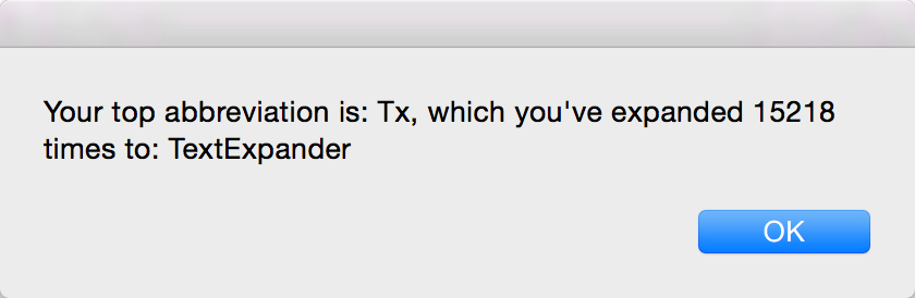Your top abbreviation is Tx, which you've expanded 15218 times to: TextExpander