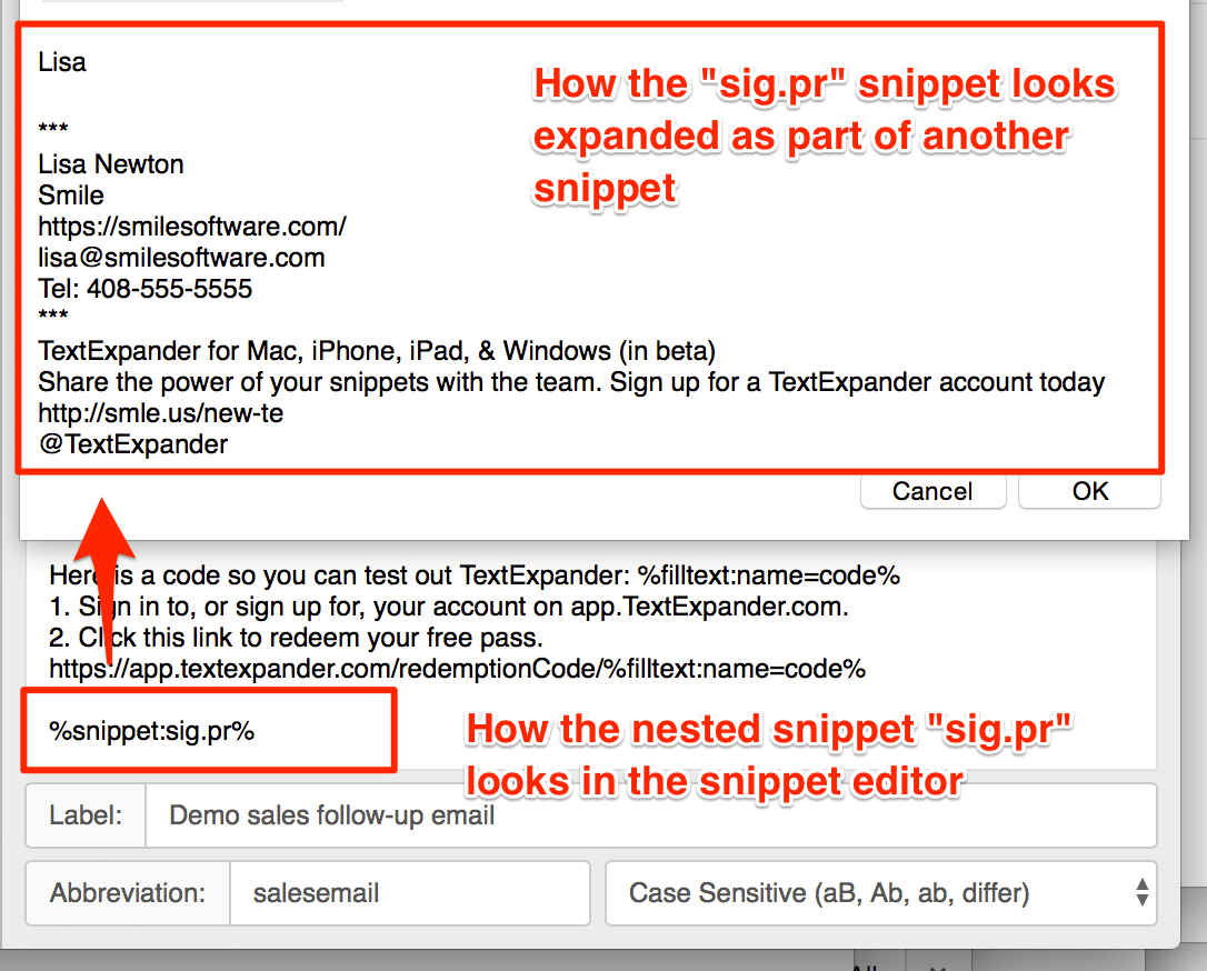 nested snippets