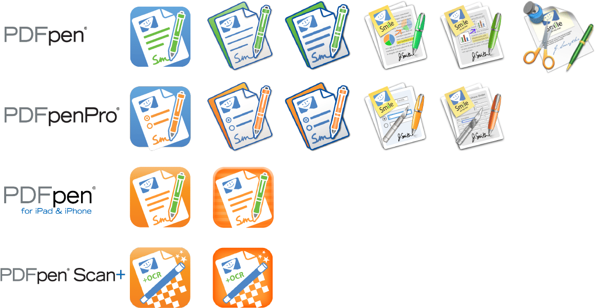 PDFpen Family icons