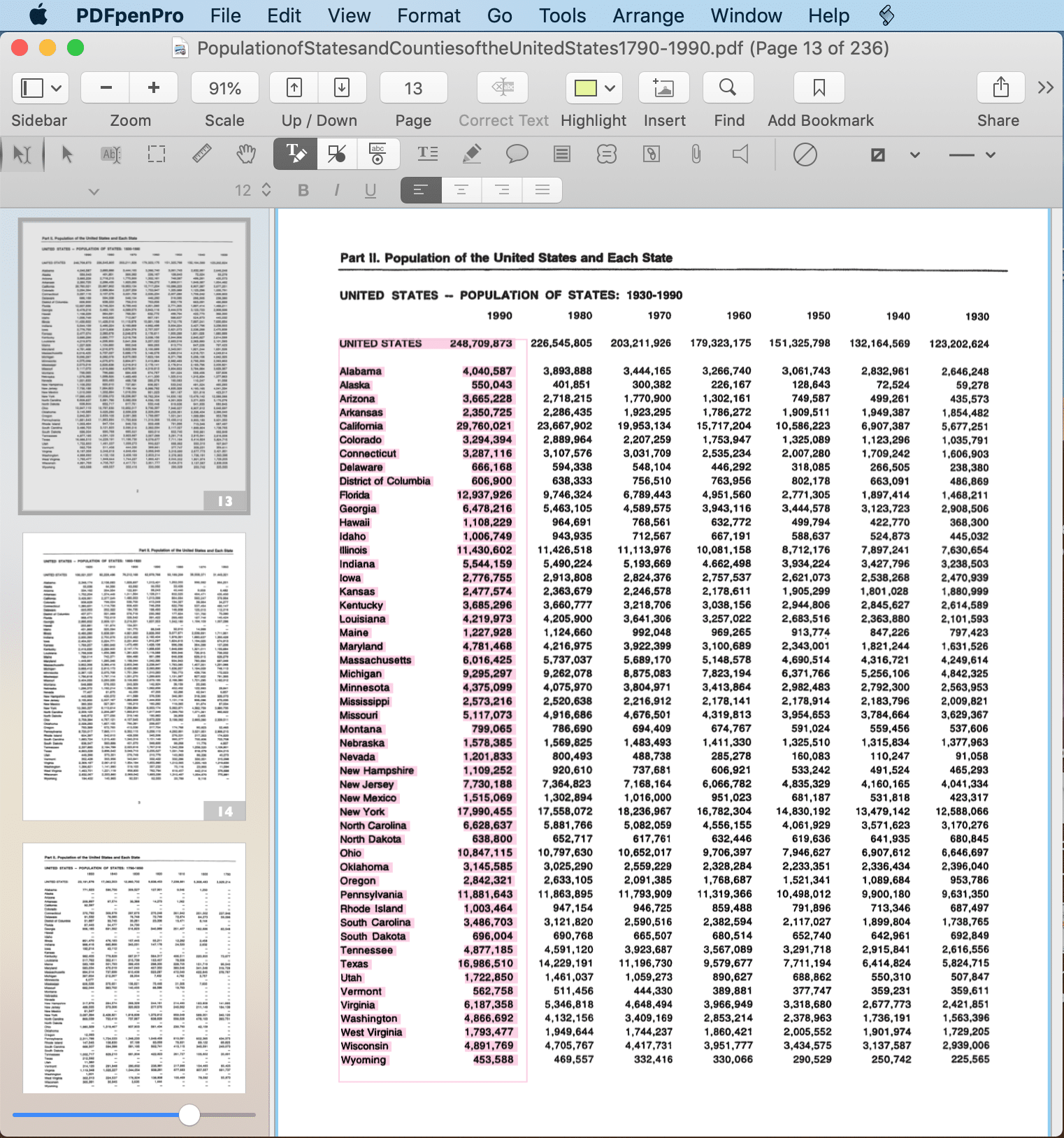 Select and copy table data
