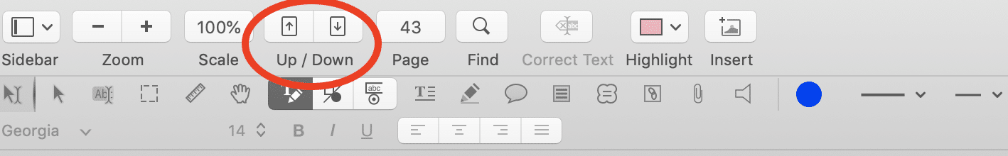 Navigate pages in a PDF using the Page Up and Page Down buttons.