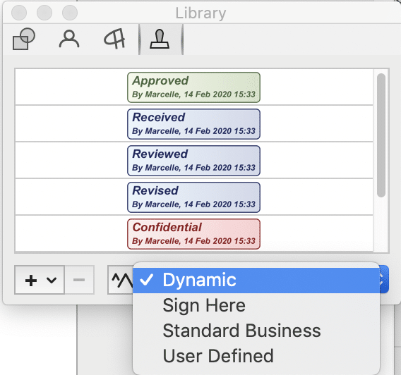 Screenshot of PDFpen Library, Stamps tab.