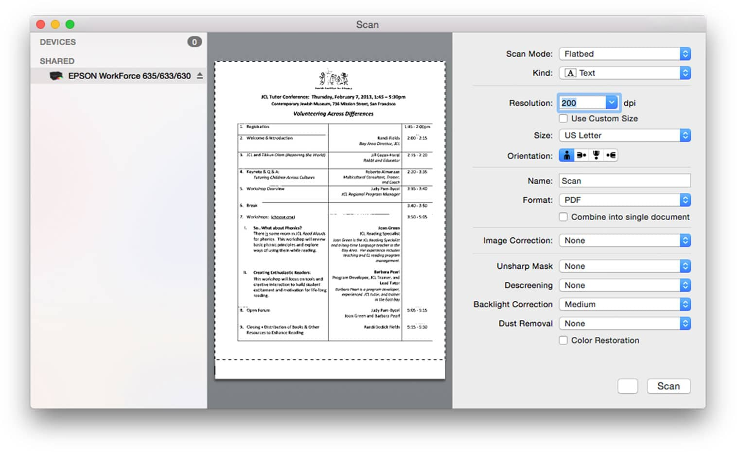 Scan a document to PDF with PDFpen.