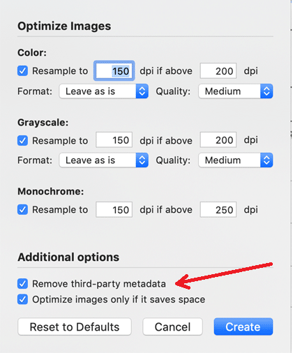 Screenshot of Optimize images dialog box, which includes the option of removing PDF metadata.