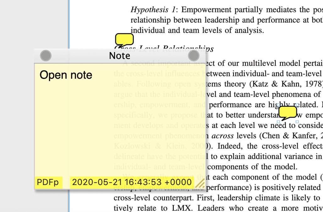 Open and closed notes on a PDF document are a form of annotation