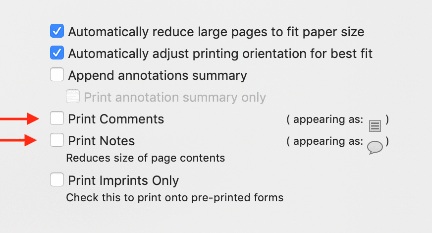 Print options for PDF annotations