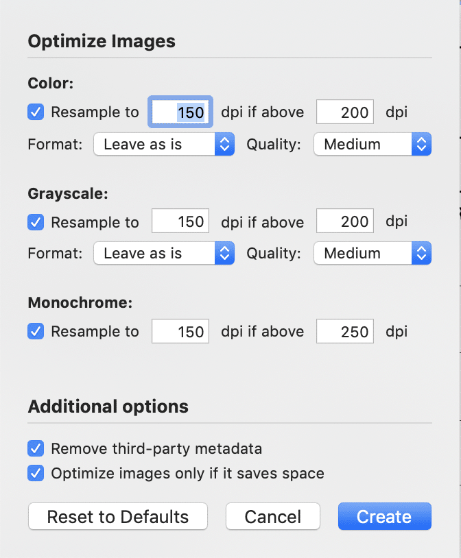 Optimize images dialog box allows you to reduce PDF file size.