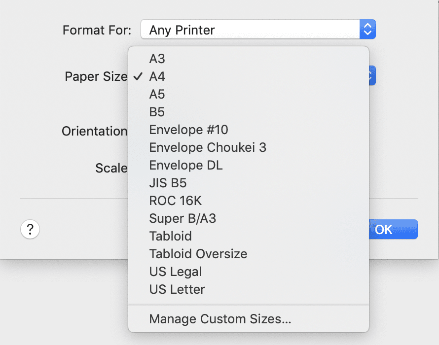 Page Setup dialog in PDFpen.