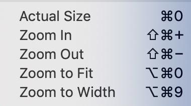 PDFpen zoom options menu.