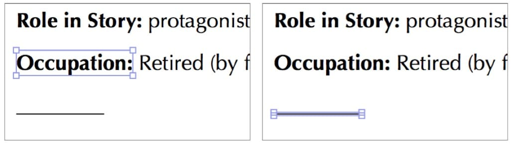 Selection of a native text object (left) and a graphic object (right) with the Precision Edit Tool. Source: Take Control of PDFpen.