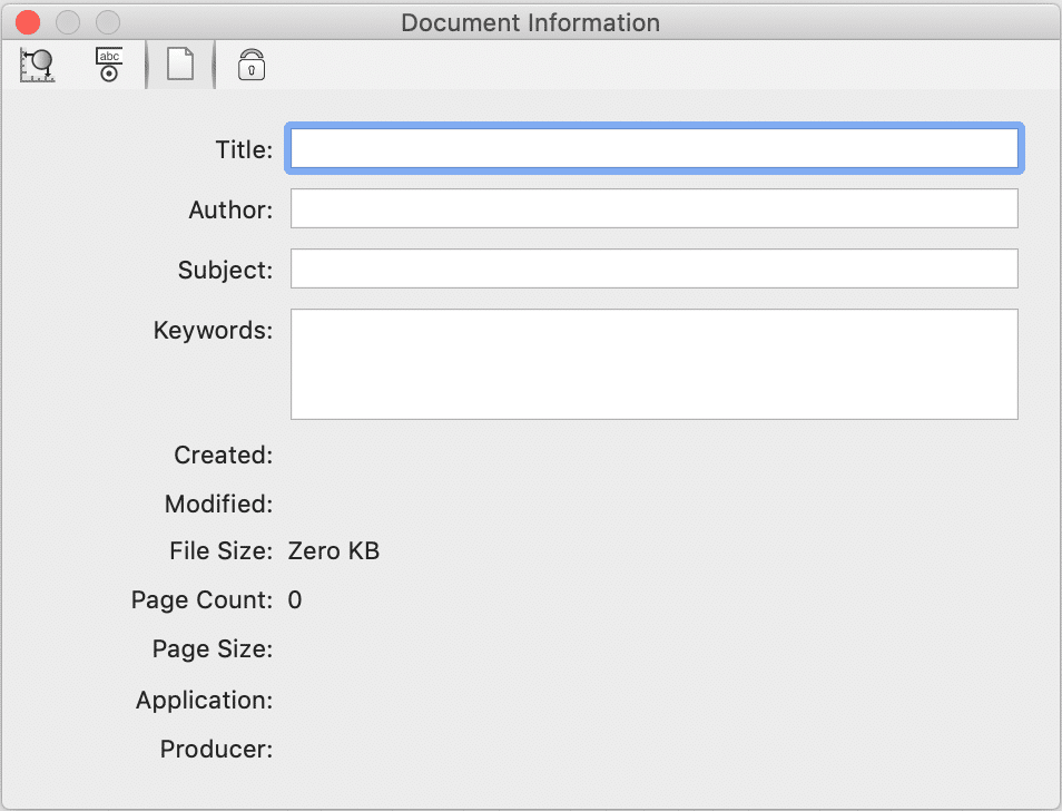 Example of how to enter a document title manually on PDFpen